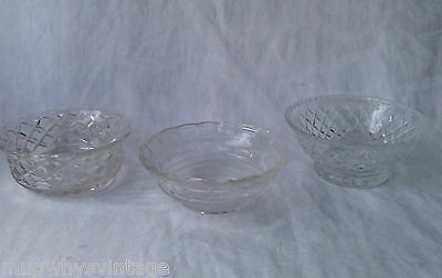 Vintage Cut Crystal Glass  glass bowls condiment dishes x 3