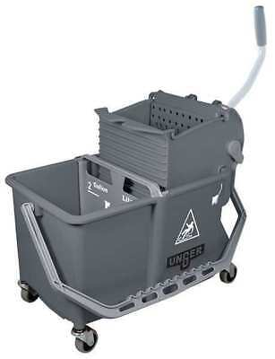 UNGER COMSG Mop Bucket with Wringer, 4 gal., Gray