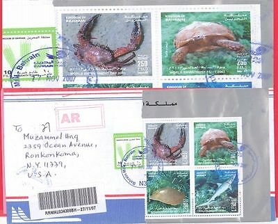 Bahrain Topic CRAB Fish Turtle Block of 4 on Registered cover to USA