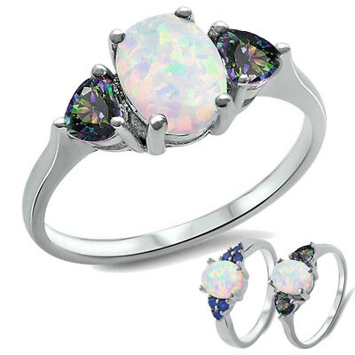 925 Sterling Silver Fire Opal Sapphire Wedding Engagement Propose Silver Ring