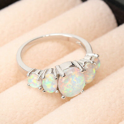 Sterling Silver Plated Australian Fire Oval Opal Ring Wedding Engagement Blue