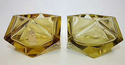 Vintage Pair Of Canary Yellw Cut Crystal German Modernist Ashtrays By Imperlux