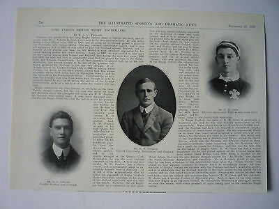 """Rugby. """" Some Famous British Rugby Footballers."""" 1909. Very Rare."""