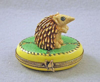 New Hand Painted French Limoges Trinket Box Cute Hedgehog On Green & Yellow Box