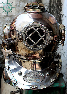 Vintage Antique Morse Us Navy Mark V Solid Copper & Brass Divers Diving Helmet