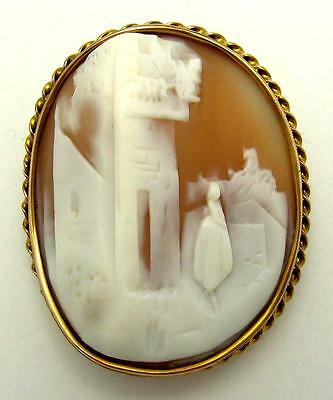 10k Yellow Gold Carved Natural Shell Cameo Brooch of Rebecca at the Well