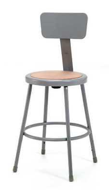 """National Public Seating Round Stool with Backrest, Height 24""""Gray, 6224B"""