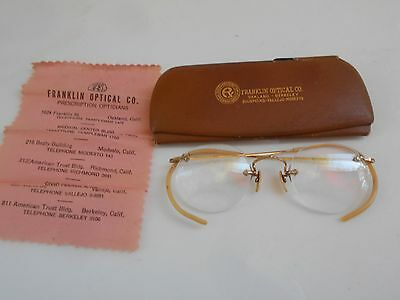 Vintage Eye Glassesspectacles Case & Cleaning Cloth Franklin Optical. Ca. #1429