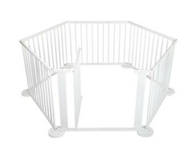 NEW Baby Kids Toddler Deluxe White Wooden Playpen Divider Safety Gate 8 Panel AU