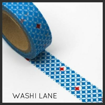 Washi Tape -  Blue Tiles with a Red Star 15mm x 10m Planner Decoration Tape