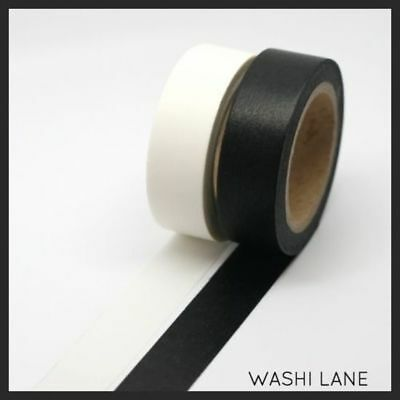 Washi Tape - Solid Black 15mm x 10m Sticky Tape Deco Art Block Colour