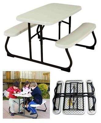 Kids Picnic Table Children Fun Play Foldable Bench Outdoor Patio Furniture Set