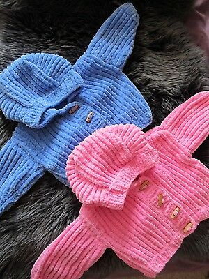 Handmade hand knitted/crocheted baby cardigan with hood- in supersoft wool