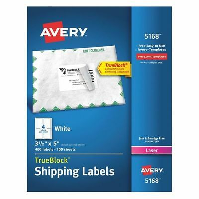 Avery Avery Shipping Label for Laser Printers 5168,White PK100, 5168