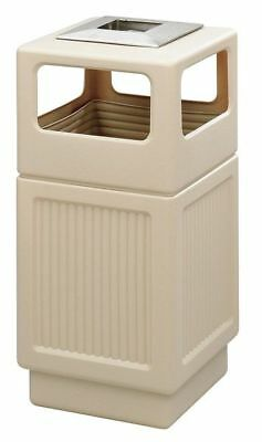 38 gal. Tan Plastic Square Trash Can/ Ash Tray SAFCO 9477TN