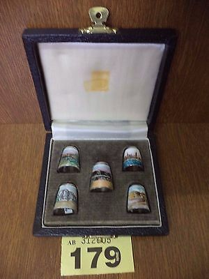 Rare Full Set of 5 James Swann Solid Silver Enamel Thimbles - Famous Places