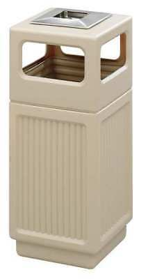 15 gal. Tan Plastic Square Trash Can/ Ash Tray SAFCO 9474TN