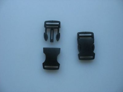 10 Boucles clip / clic clac attache rapide  NOIRES largeur de sangle  25 mm