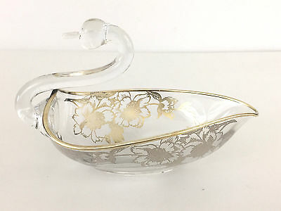 vintage glass candy dish in the shape of a duck with silver overlay 1960's