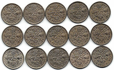 Full Date Run of Sixpences - 1953-1967 - 15 coins - Circulated Condition