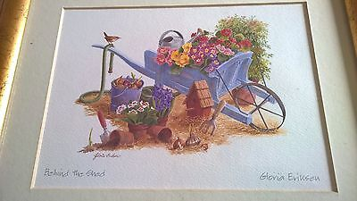 "SIGNED Gloria Eriksen  ""Behind The Shed""  Framed and Mounted Print"