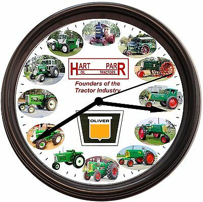 New Hart-Parr Oliver Tractor Wall Clock  With 12 Hart-Parr & Oliver Tractors