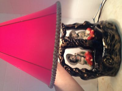 Vintage Chinese TV Table Lamp Black Red Oriental Figurines Original Red Shade