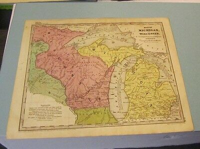 1844 Smith Geography Hand Colored Map of Michigan and Wisconsin 4 Great Lakes