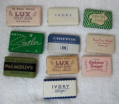 Lot 10 1940's-50's Vintage Hotel Motel Travel Soap's Ivory Lux Palmolive MORE M4