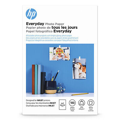 """HP Everyday GLOSSY PHOTO PAPER 100 Sheets 4"""" x 6"""" 53 lb for ALL INKJET PRINTERS"""
