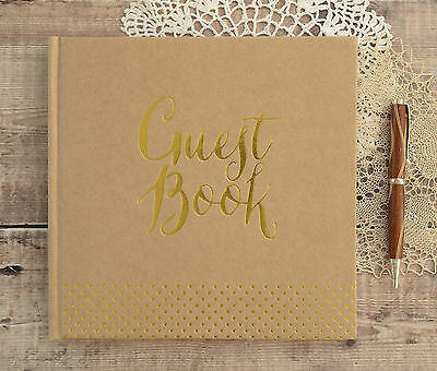 Personalised Wedding Guest Book & Box. Kraft Guest Book with Gold Printed Text