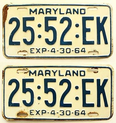 Maryland 1964 TRUCK License Plate YOM PAIR for Ford, Chevy, GMC, Dodge