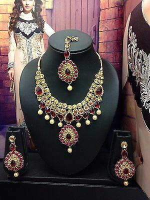 New Indian Bollywood Costume Jewellery Necklace Set Gold Wedding Party Fashion