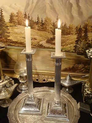 Silverplated Ornate Dorian Columns Candlestick Holders Quality Gift Vintage 11""