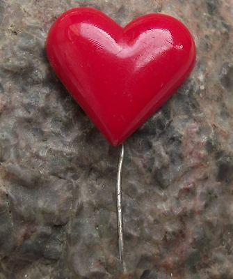 Antique Red Love Heart Valentine Mothers Womens Day Appreciation Pin Badge