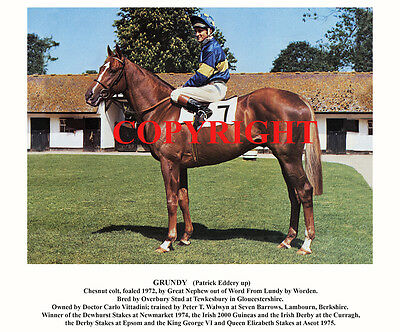 GRUNDY & Pat Eddery: 1975 Derby winners 10x8 print-captioned for framing