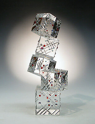 "Optic Crystal Glass Sculpture ""QUEST"" with Swarovski Rhinestones by Ray Lapsys"