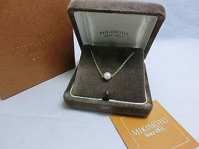 Mikimoto Akoya Pearl 18K Yellow Gold Pendant 6.5 MM Pearl 100%Authentic!