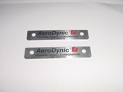 Federal Signal Aerodynic lightbar name plate NEW pair