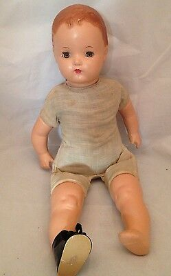 Antique Horsman Dolls Collectible Composition Baby Doll Boy Brown Eyes Red Hair