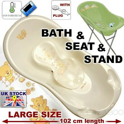SET LARGE Lux 102cm length Baby Bath Tub with STAND + seat &THERMOMETHER & drain