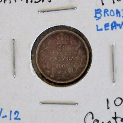 Canada 1909 10 Cents Silver Broad Leaves