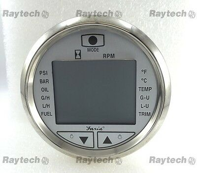 Faria Pilot II IC0301A Multi Function Digital Gauge silver bezel