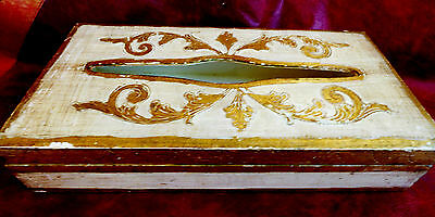 Vtg Italian Florentine Florence Hand Painted White & Gold Wood Tissue Box Cover