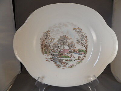 "Edwin Knowles ""farm In Winter"" Semi-Vitreous China 11"" Oval Serving Platter 1940"