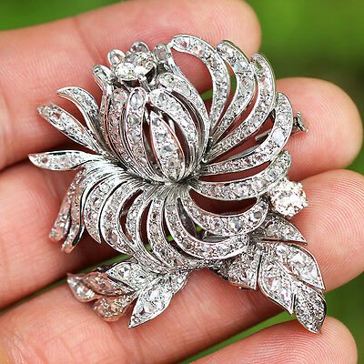 Antique Edwardian Diamond Flower Brooch European & Rose Cuts Platinum 8.50ctw