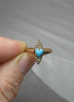 Turquoise Heart Engagement Wedding Ring 14K Gold Pearl Antique c1860 Rare