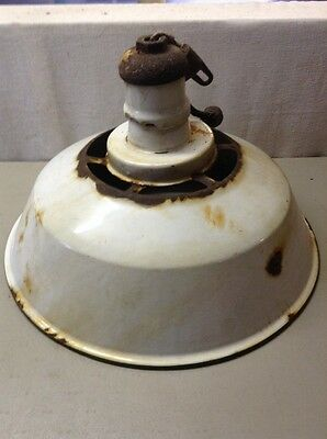 "Free Shipping!! Vintage White Porcelain Enamel 20"" Diameter Industrial Light"