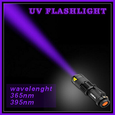 UV UltraFire Powerful LED Flashlight Torch 400nm 3 Mode Tactical Adjustable Lens