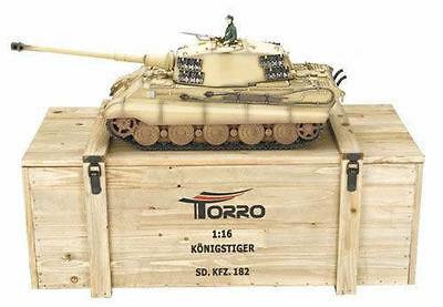 Torro 1/16 RC German King Tiger IR Tank Desert 2.4GHz Metal 360 Wooden Box